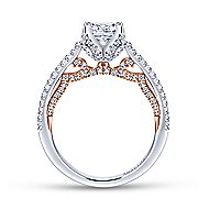 Indie 18k White And Rose Gold Princess Cut Split Shank Engagement Ring angle 2