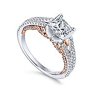 Indie 18k White And Rose Gold Princess Cut Split Shank Engagement Ring angle 3