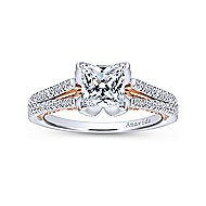 Indie 18k White And Rose Gold Princess Cut Split Shank Engagement Ring angle 5