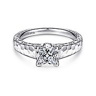 Indy 14k White Gold Princess Cut Solitaire Engagement Ring