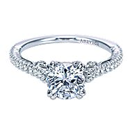 Ingrid 18k White Gold Round Straight Engagement Ring angle 1