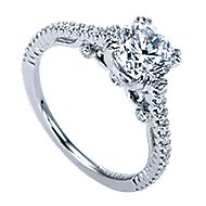 Ingrid 18k White Gold Round Straight Engagement Ring angle 3