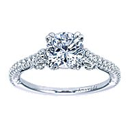 Ingrid 18k White Gold Round Straight Engagement Ring angle 5