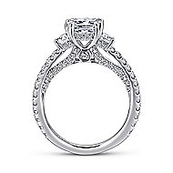 Innocence 18k White Gold Cushion Cut 3 Stones Engagement Ring angle 2