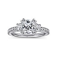 Innocence 18k White Gold Cushion Cut 3 Stones Engagement Ring angle 5