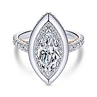 Irene 18k White And Rose Gold Marquise  Halo Engagement Ring