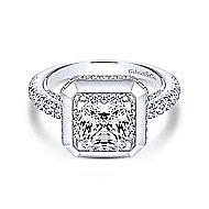 Irene 18k White Gold Princess Cut Halo Engagement Ring angle 1