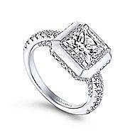 Irene 18k White Gold Princess Cut Halo Engagement Ring angle 3