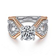 Isla 14k White And Rose Gold Round Split Shank Engagement Ring angle 1