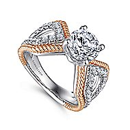 Isla 14k White And Rose Gold Round Split Shank Engagement Ring angle 3