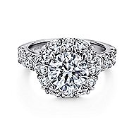 Ivory 14k White Gold Round Halo Engagement Ring
