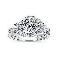 Izzie 14k White Gold Round 3 Stones Engagement Ring angle 4