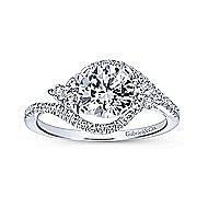 Izzie 14k White Gold Round 3 Stones Engagement Ring angle 5