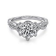 Jacinta 18k White Gold Round Twisted Engagement Ring angle 1