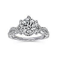 Jacinta 18k White Gold Round Twisted Engagement Ring angle 5