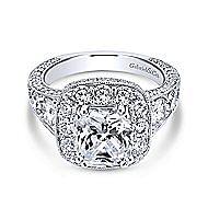 Jackie 18k White Gold Cushion Cut Halo Engagement Ring angle 1