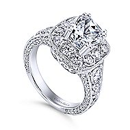 Jackie 18k White Gold Cushion Cut Halo Engagement Ring angle 3