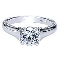 Jacquie 18k White Gold Round Solitaire Engagement Ring angle 1