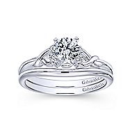 Jaden 14k White Gold Round Twisted Engagement Ring angle 4