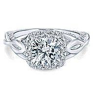 Jakarta 14k White Gold Round Halo Engagement Ring angle 1