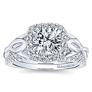 Jakarta 14k White Gold Round Halo Engagement Ring angle 4