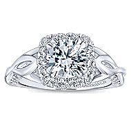 Jakarta 14k White Gold Round Halo Engagement Ring angle 5