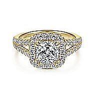 James 14k Yellow Gold Cushion Cut Halo Engagement Ring angle 1