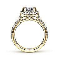 James 14k Yellow Gold Cushion Cut Halo Engagement Ring angle 2