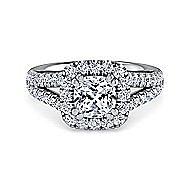 James Platinum Cushion Cut Halo Engagement Ring angle 1