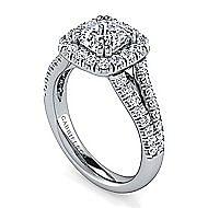James Platinum Cushion Cut Halo Engagement Ring angle 3