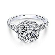 Janay 18k White Gold Round Double Halo Engagement Ring angle 1