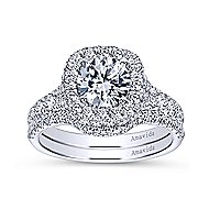 Janay 18k White Gold Round Double Halo Engagement Ring angle 4