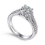 Janelle 14k White Gold Round Split Shank Engagement Ring angle 3