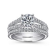 Janelle 14k White Gold Round Split Shank Engagement Ring angle 4
