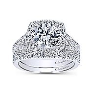 Janet 18k White Gold Round Halo Engagement Ring angle 4