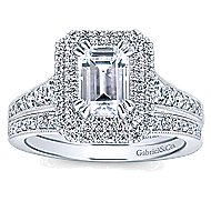 Jasmine 14k White Gold Emerald Cut Double Halo Engagement Ring angle 4