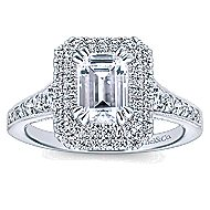 Jasmine 14k White Gold Emerald Cut Double Halo Engagement Ring angle 5