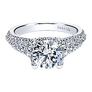 Jaynese 18k White Gold Round Straight Engagement Ring angle 1