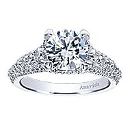 Jaynese 18k White Gold Round Straight Engagement Ring angle 5