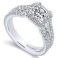 Jewel 14k White Gold Princess Cut Halo Engagement Ring