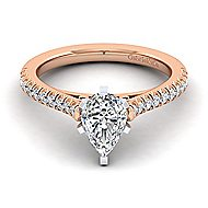 Joanna 14k White And Rose Gold Pear Shape Straight Engagement Ring angle 1