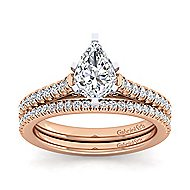 Joanna 14k White And Rose Gold Pear Shape Straight Engagement Ring angle 4