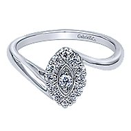 Jojo 14k White Gold Round Halo Engagement Ring angle 1