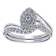 Jojo 14k White Gold Round Halo Engagement Ring angle 4