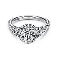 Jolene 14k White Gold Round 3 Stones Halo Engagement Ring angle 1