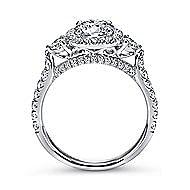 Jolene 14k White Gold Round 3 Stones Halo Engagement Ring angle 2