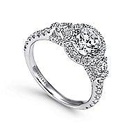 Jolene 14k White Gold Round 3 Stones Halo Engagement Ring angle 3