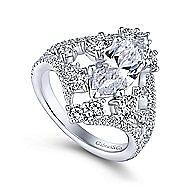 Jules 18k White Gold Marquise  Split Shank Engagement Ring