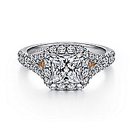 Juliana 14k White And Rose Gold Princess Cut Halo Engagement Ring angle 1