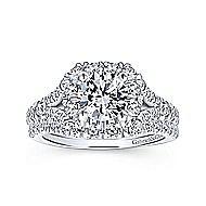 Juliana 14k White And Rose Gold Round Halo Engagement Ring